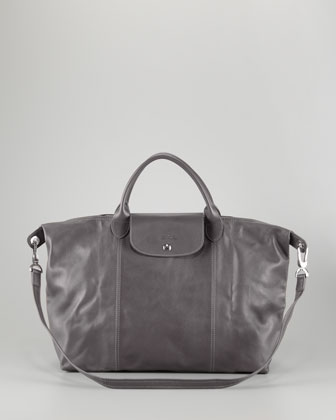Le Pliage Cuir Large Handbag with Strap, Gunmetal
