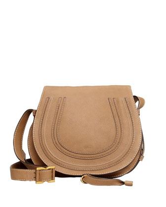Marcie Medium Horseshoe Crossbody Satchel Bag, Nut