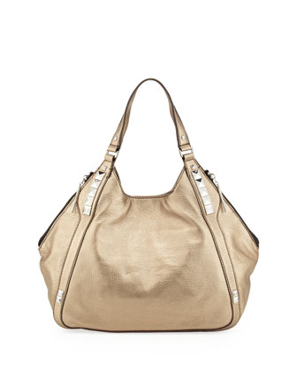 Libra Metallic Stud-Trim Hobo Bag, Gold