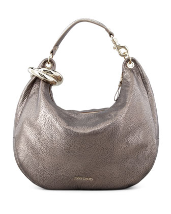 Solar Metallic Bracelet Hobo Bag, Gray
