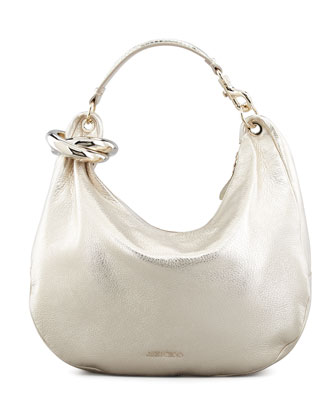 Solar Metallic Bracelet Hobo Bag, Light Gold