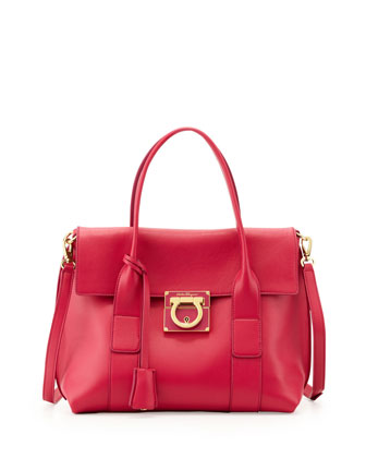 Sookie Lock Story Leather Satchel Bag, Agata Rosa