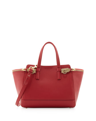 Small Verve Light Zip-Side Tote Bag, Rosso
