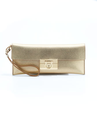 Lock Story Metallic Clutch Bag, Gold