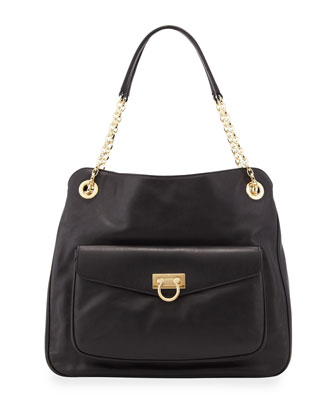 Sheba Pocket Leather Tote Bag, Black