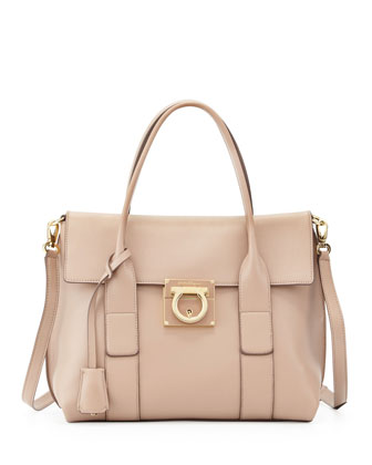 Sookie Lock Story Leather Satchel Bag, Quarzo Fume