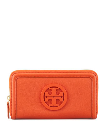 Amanda Continental Zip Wallet, Blood Orange