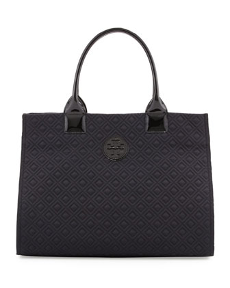 Ella Quilted Nylon Tote Bag, Black
