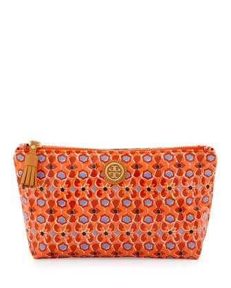 Printed Small Slouchy Cosmetic Bag, Tiger Lily Mosaic