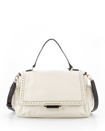 Highline Courier Facet-Stud Satchel Bag, Parchment