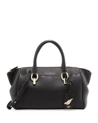 Sutra Small Leather Duffle, Black