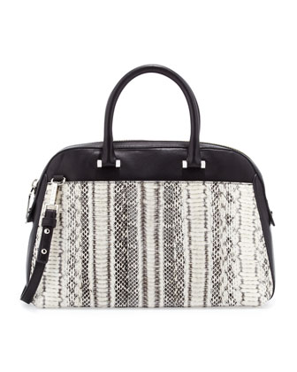 Mercer Snakeskin Medium Satchel Bag, Black/White