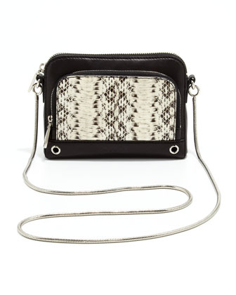 Mercer Snakeskin Mini Shoulder Bag, Black/White