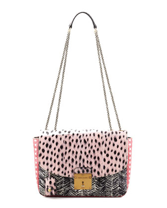 Polly Mini Snakeskin Shoulder Bag, Pink/Black/Multi