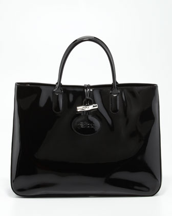 Roseau Patent Leather Box Tote Bag, Black