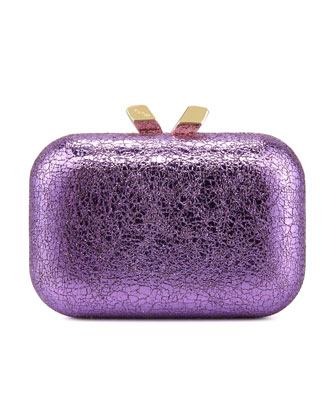 Margo Crinkled Metallic Box Clutch Bag, Purple