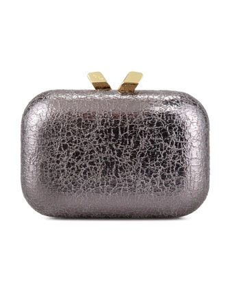 Margo Crinkled Metallic Box Clutch Bag, Pewter