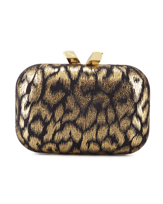 Margo Animal-Print Minaudiere, Black/Gold