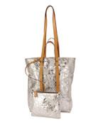 Tokyo Crinkled Metallic North-South Tote Bag