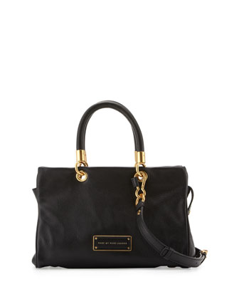Too Hot to Handle Zip Satchel Bag, Black