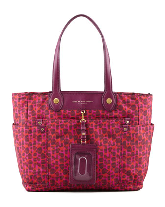 Isa-Print Preppy Nylon Clara Tote Bag, Red/Pink