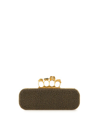 Micro-Stud Long Knuckle-Duster Clutch Bag, Black