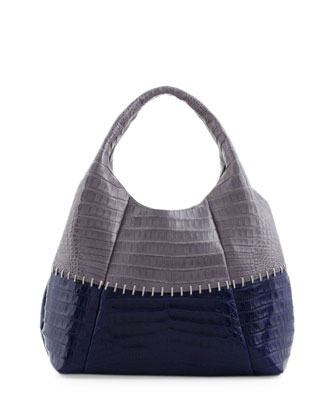Two-Tone Stitched Tote Bag, Gray/Navy