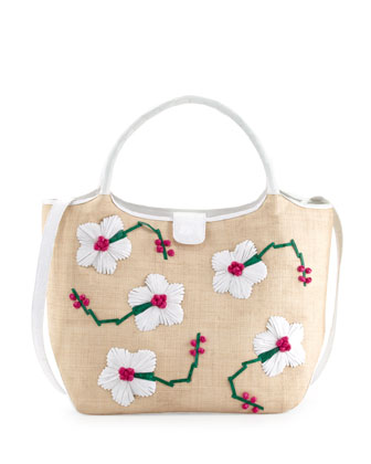 Crocodile/Straw Flower Tote Bag, White/Pink/Green
