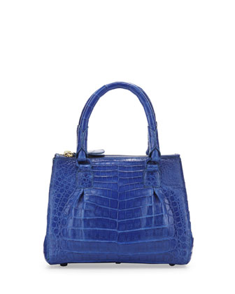 Open-Top Crocodile Satchel Bag, Blue