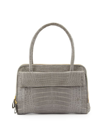 Crocodile Zip Satchel Bag, Gray