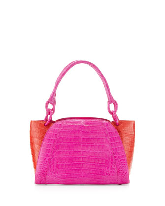 Medium Two-Tone Crocodile Satchel Bag, Pink/Orange
