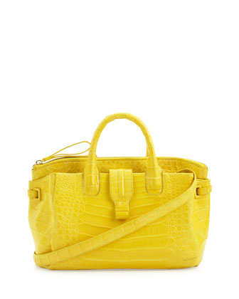 Cristina Small Crocodile Tote Bag, Yellow