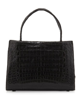 Small Compartmentalized Crocodile Tote Bag, Black