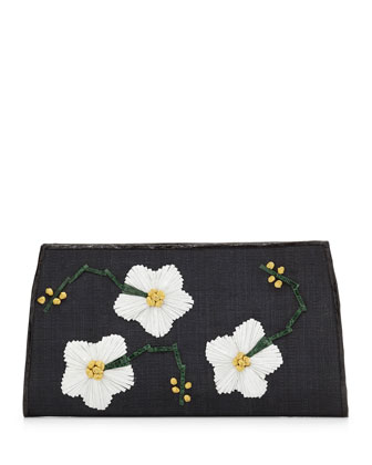 Snap-Top Floral Clutch Bag, Black
