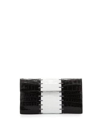 Small Crocodile Colorblock Clutch Bag, Black/White