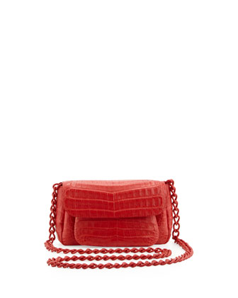 Crocodile Shoulder Bag, Red