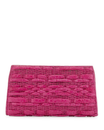 Woven Crocodile Clutch Bag, Pink