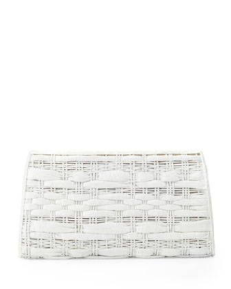 Woven Crocodile Clutch Bag, White
