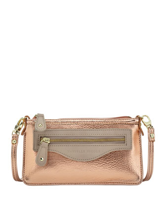 Davina Mini Metallic Crossbody Bag, Rose Gold