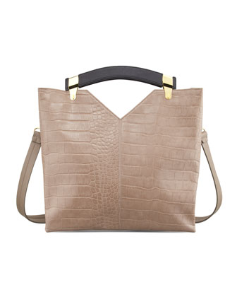 Buckle Up Crocodile-Print Tote Bag, Smoke