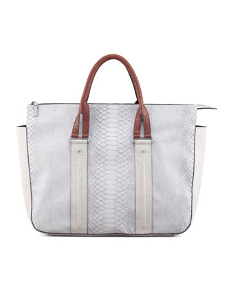 Traffic Snake-Embossed Tote, Light Gray/Cognac