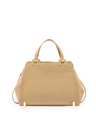 Daphne Structured Leather Carryall, Ecru