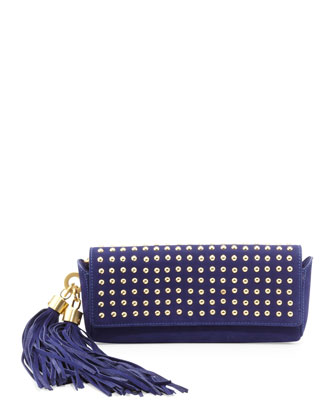Claudette Studded Tassel Clutch Bag, Azure