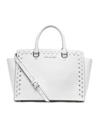 Large Selma Jewel-Trim Satchel