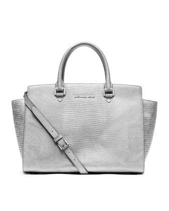 Large Selma Lizard-Embossed Satchel