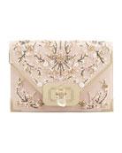 Valentina Floral Beaded Envelope Clutch Bag, Pink/Multi