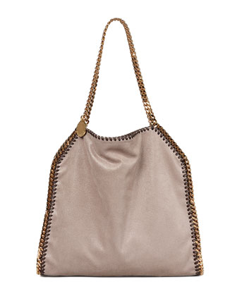 Falabella Small Tote Bag, Metallic Gray