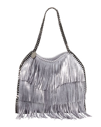 Falabella Fringe Small Tote Bag, Platinum
