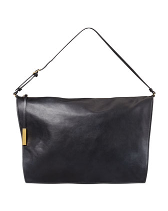 Faux-Napa Big Shoulder Bag, Black