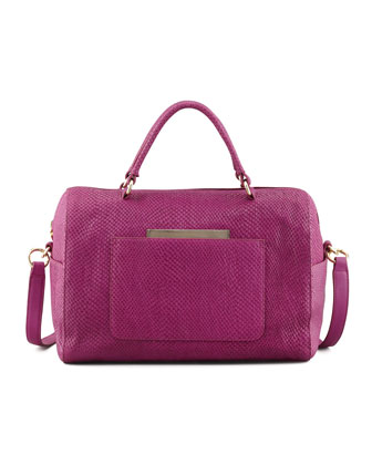Julian Serpent-Print Duffle Bag, Magenta